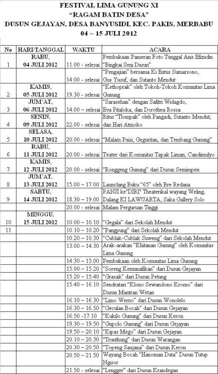 Jadwal Festival Lima Gunung Magelang XI 2012 Part 2